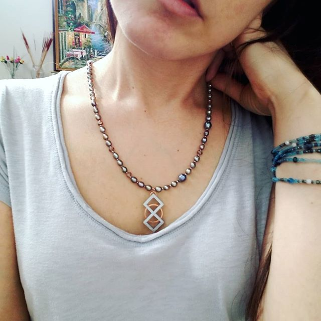 Jewelry Throwback 😁 1. Showing a single long-strand beaded bracelet and beaded necklace with a Layerfied Designs pendant. This 3d printed pendant is embedded with a hand-cut copper ring & is called Digital Infinity. I 🧡 this color combo of copper + gray! 😍 2-5. Digital Infinity in t-glase & black, some gold-tone rings, too. . #3dmodeling #jewelrydesign #tbt #layerfied #3dprinted #jewelry #bijoux #gioielli #fashtech #fashiontech #beaded #necklace #boise #idahome #makersgonnamake #moda #slowfashion #gretafied #jewelryaddict #3dp * #jotd = #3dpjotd