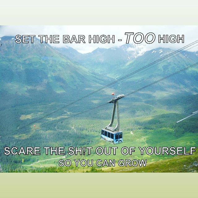"""Set the bar high - TOO high. Scare the sh!t out of yourself so you can grow"" . I believe this is the second meme I've made. The photo is one I took while in another one of these lifts heading up to the Alyeska château. It's a nice little drive just outside of Anchorage, Alaska. . There are more memes 😚 but for the life of me, I didn't think to add them here until now. I'm going to stick with the tone of my feed with the ones I post here, though. For now 💞 . #memes #scared #beafraid but also #bebrave #yougotthis #personalgrowth #meme #alaska #oldstompinggrounds #myheart #alyeska #travelalaska #beautifulplace #gretafied #photo"