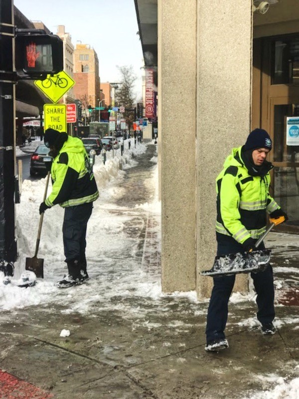 Ambassadors keep winter at bay shoveling and snowblowing ADA ramps, curb cuts, and walkways in addition to spreading pet-safe de-icing agent.