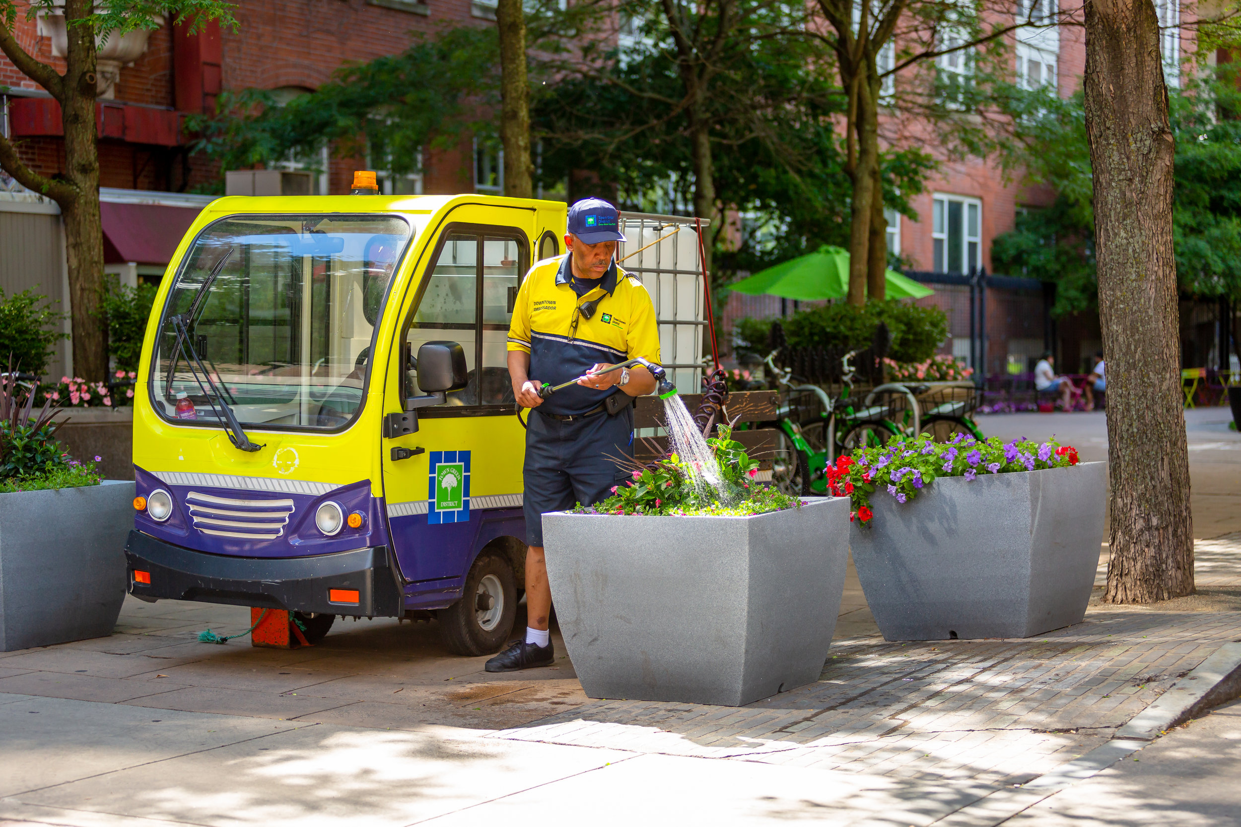 Our team waters 2,500 flowers and parks daily throughout the spring and fall seasons, all a part of maintaining a beautiful downtown.