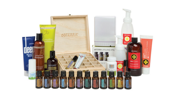 Natural Solutions Kit - ESSENTIAL OILS: (15 mL):• Frankincense• Lavender• Lemon• Melaleuca• Peppermint• Wild Orange ESSENTIAL OIL BLENDS: (15 mL):• AromaTouch®• doTERRA Balance®• doTERRA Breathe®• DigestZen®• doTERRA On Guard®• PastTense®• doTERRA Serenity® doTERRA ON GUARD® COLLECTION:• Beadlets• Toothpaste• Hand Wash w/2 Dispensers• Softgels• Sanitizing Mist• Mouthwash OTHER PRODUCTS:• doTERRA Lifelong Vitality Pack®• DigestZen TerraZyme®• Deep Blue® Rub• Fractionated Coconut Oil (4 oz)• Lumo Diffuser• Wooden Box• doTERRA Breathe® Vapor Stick• Correct-X®• PB Assist®• doTERRA Essentials Booklet Spa Hand & Body Lotion• Spa Moisturizing Bath Bar (3 PACK)€670.25 ~ Save €142 and receive 100 product credits and start at 15% rewards