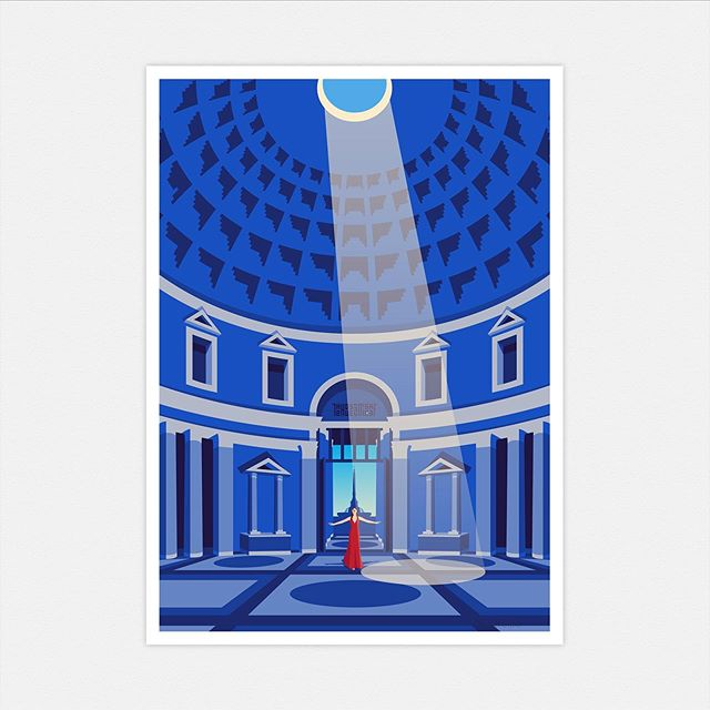 Latest illustration almost finished... this is one of my favourite buildings in the world... 💙 do you recognise it? #illustration #architectureillustration #travelillustration #architecture #lightandshadow #blue #guesswhere #almostfinished #finishingtouches #wallart #wallartdecor