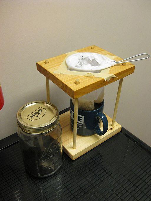 The quintessential Tico way to make coffee: in a chorreador -