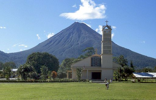 Arenal Volcano and La Fortuna Church -
