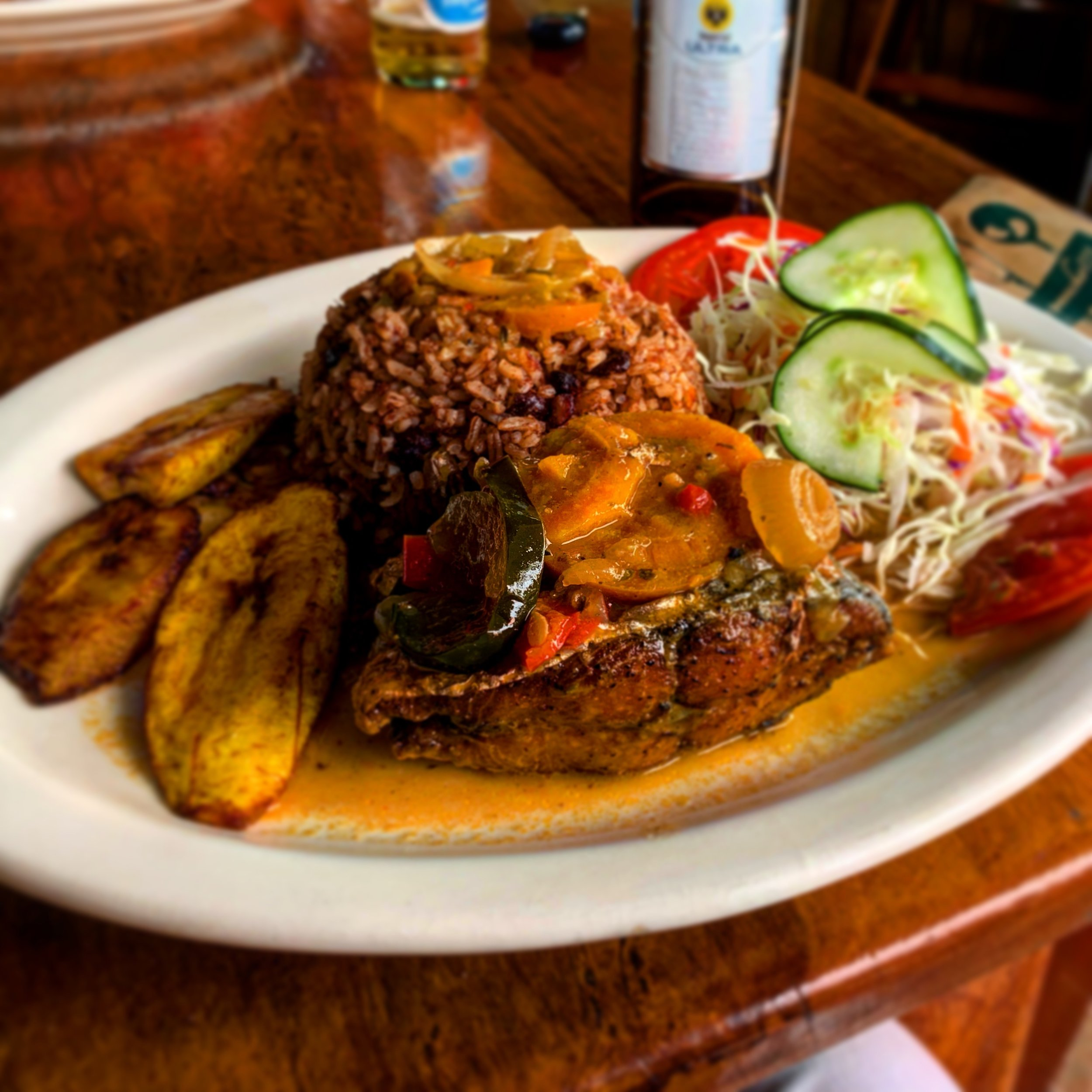 Caribbean-style rice & beans at Coco's Restaurant & Bar in Cahuita, Limon, Costa Rica