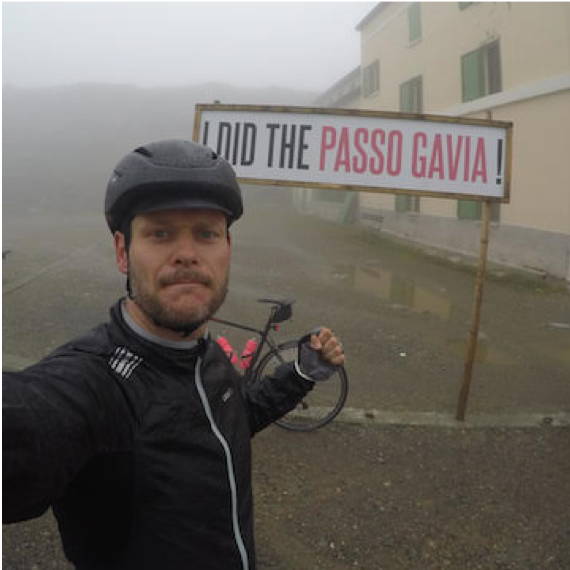 Dennis Muhlenstadt (Bochum, Germany)  Dennis loves to ride his bike all of the time. And yes, he did the Passo Gavia! Well that and tons of other epic rides all over Europe. We are so jealous. He hails from Germany and rides in any weather.