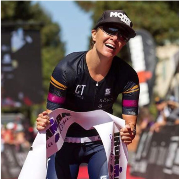 Chelsea Tiner (Dallas, TX)  Chelsea Tiner is a machine, simply put. She can rip in the water, on the bike, and on the run. Don't believe us?!?! Let her 2017 Ironman Santa Rosa win speak for itself. Yes, she won it! She is also a graphic designer and triathlon coach. She stays busy and wins at whatever she does!