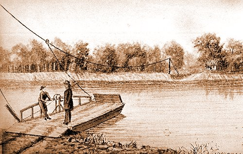 An sketch of a ferry in action.