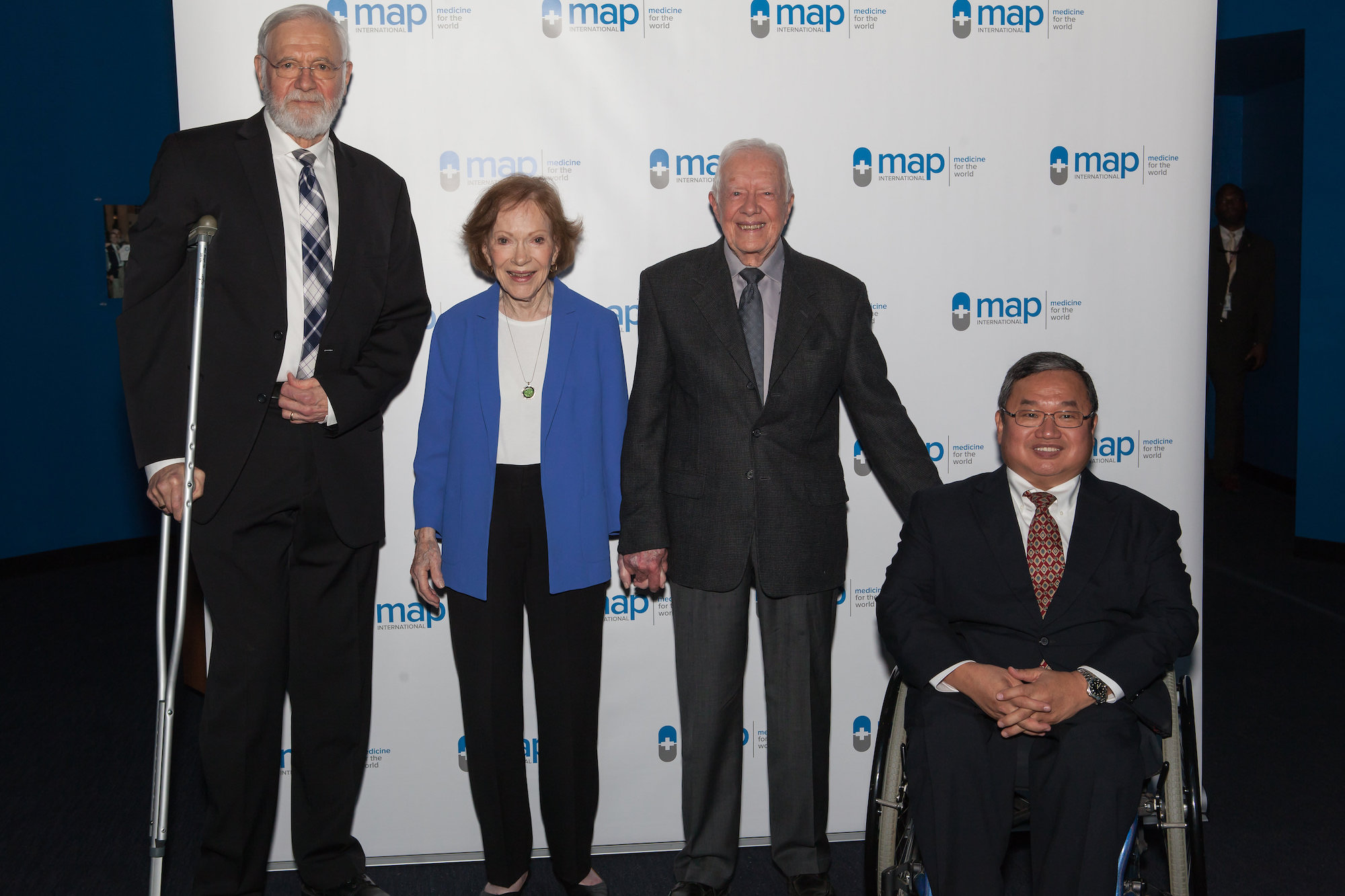 TOP: DR. BILL FOEGE, PRESIDENT JIMMY CARTER AND MRS. ROSALYNN CARTER, AND STEVE STIRLING AT THE 2018 GLOBAL HEALTH AWARDS  BOTTOM: AMBASSADOR ANDREW J. YOUNG JR. AND DR. ROBERT REDFIELD, MD (ON BEHALF OF THE CDC) ACCEPTING THEIR AWARDS AT THE 2019 EVENT