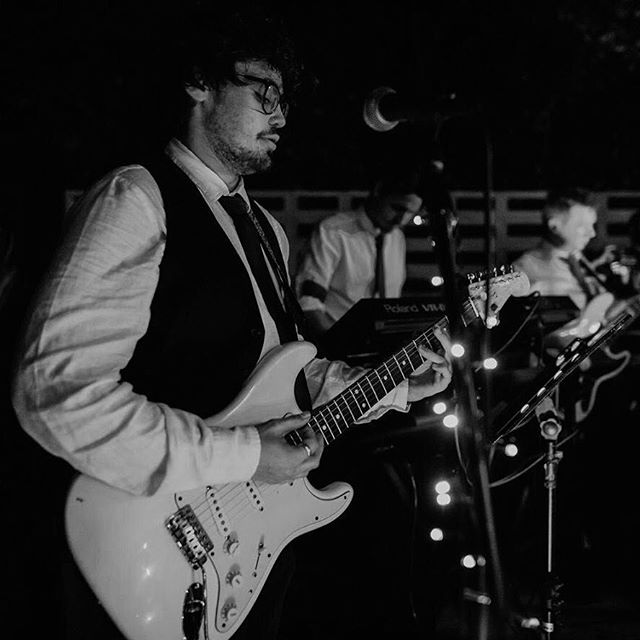 What a great shot of Jack and his electric guitar 📸 This was an amazing night at a backyard wedding in Perth. We brought all the sound equipment and lighting (including some beautiful fairy lights) so the bride and groom didn't have to worry about all that technical stuff - they could just just enjoy the music and dance the night away in their own back yard ✨🌙🥂 Don't hesitate to contact us if you're interested in getting a live band for an outdoor event ✨ @tylerbrownphotography #twocentpros