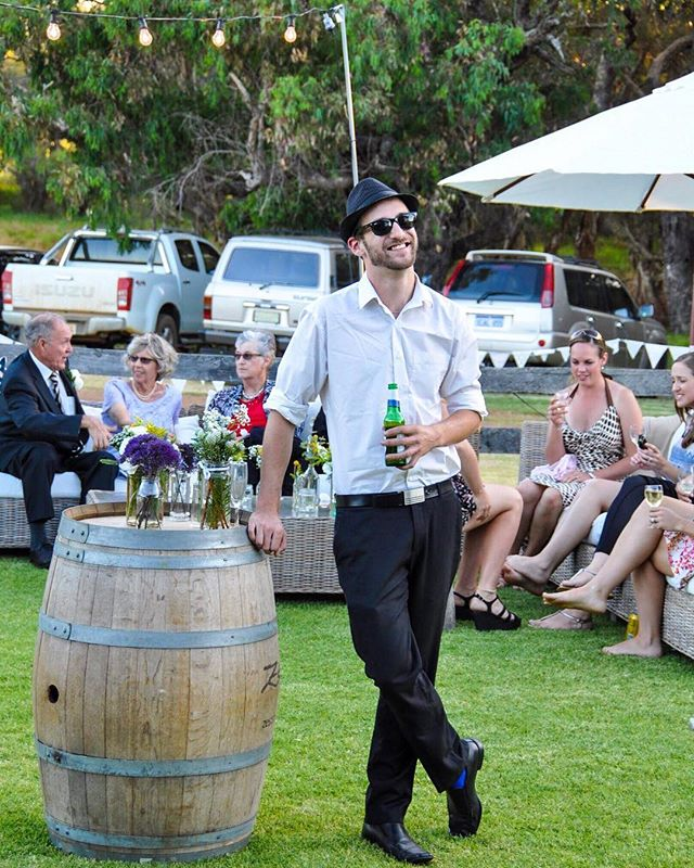 Can you believe this shot is from 5 years ago?! Ziggy hasn't changed a bit, and is still going strong as our lead male singer 🎤😁 Looking good Zig! ⠀ ⠀ This is from an awesome wedding we played at in Brunswick Junction (between Bunbury and Harvey down south). We've been playing at events all over Western Australia for over ten years now and still love our Southwest road trips 🌾🙌🇦🇺