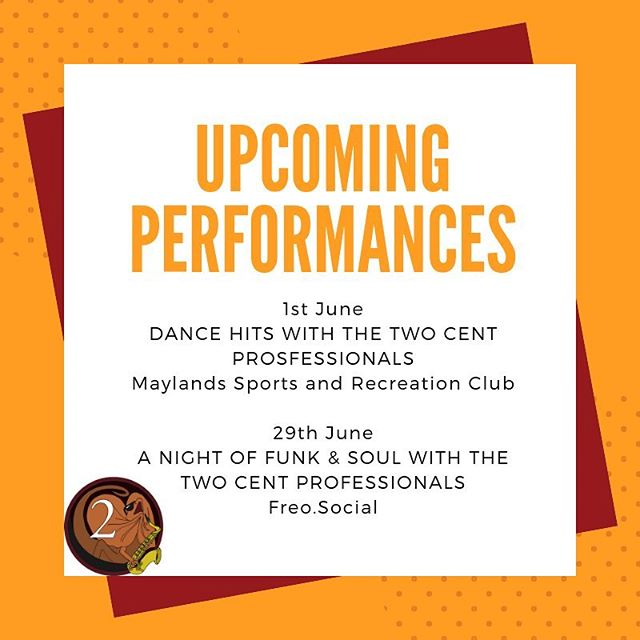 Performance Announcement! We are very excited to be holding two awesome shows next month and can't wait to get everyone out dancing with us 🕺🌟 Save the dates and start getting your friends together - more details and ticketing links to come! 🎷 See our Facebook post to read more about these two shows 💛 #twocentpros