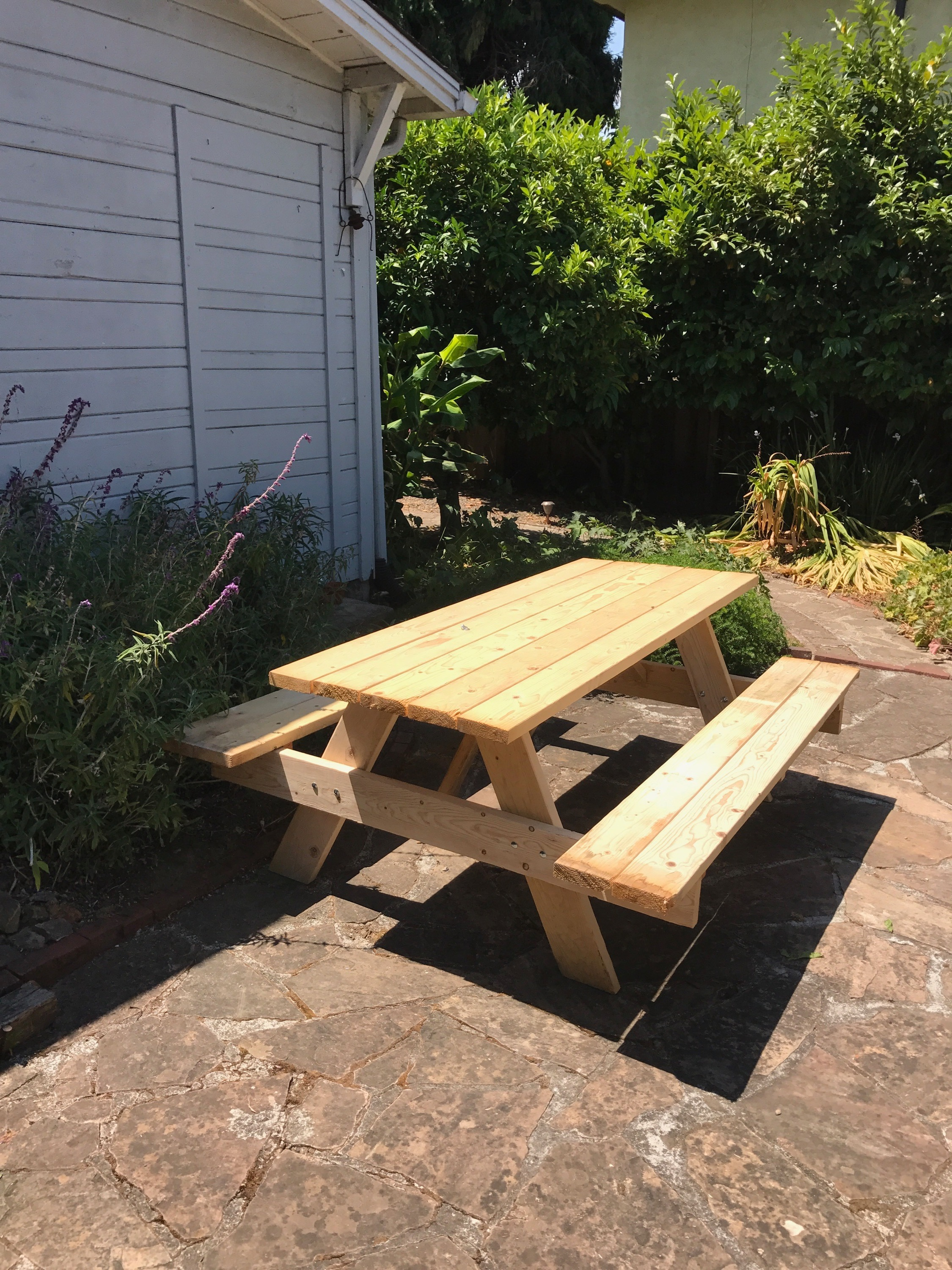 We got a picnic table (Andy couldn't ride home in the car from Home Depot because it was too big)