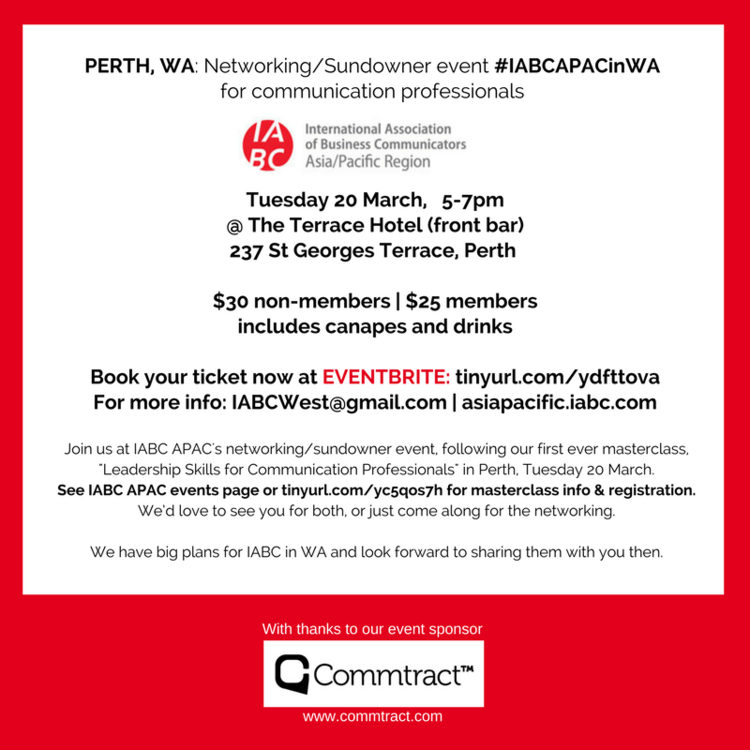 - PERTH, WA: Networking/Sundowner event #IABCAPACinWA for communication professionals