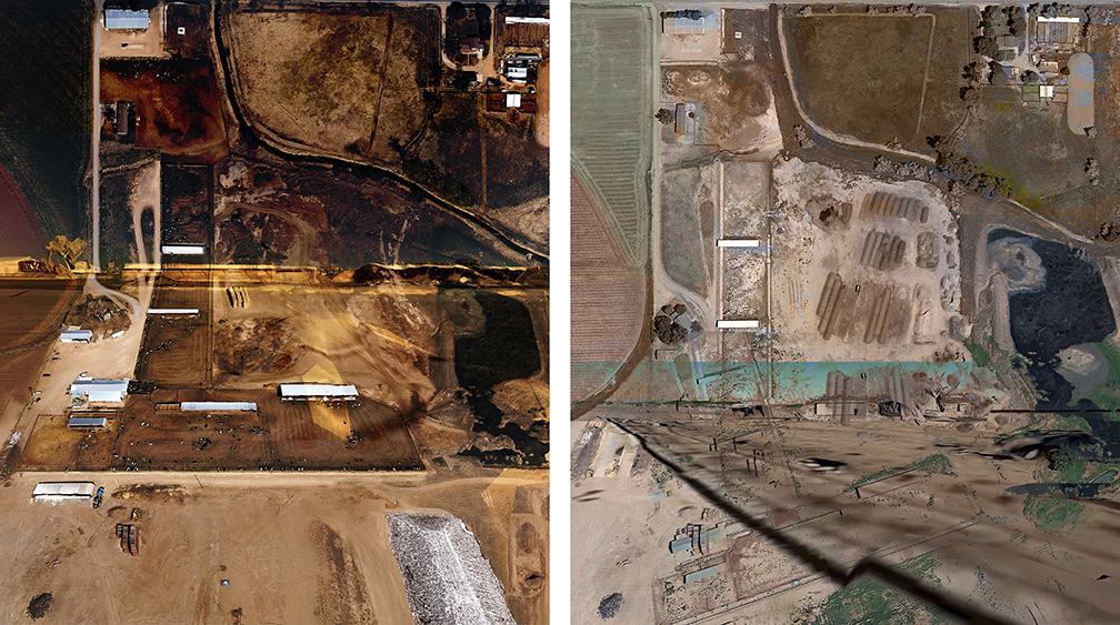 Hettinga, Diptych, Dairy Farm, Weld CO, 1980 and 2014