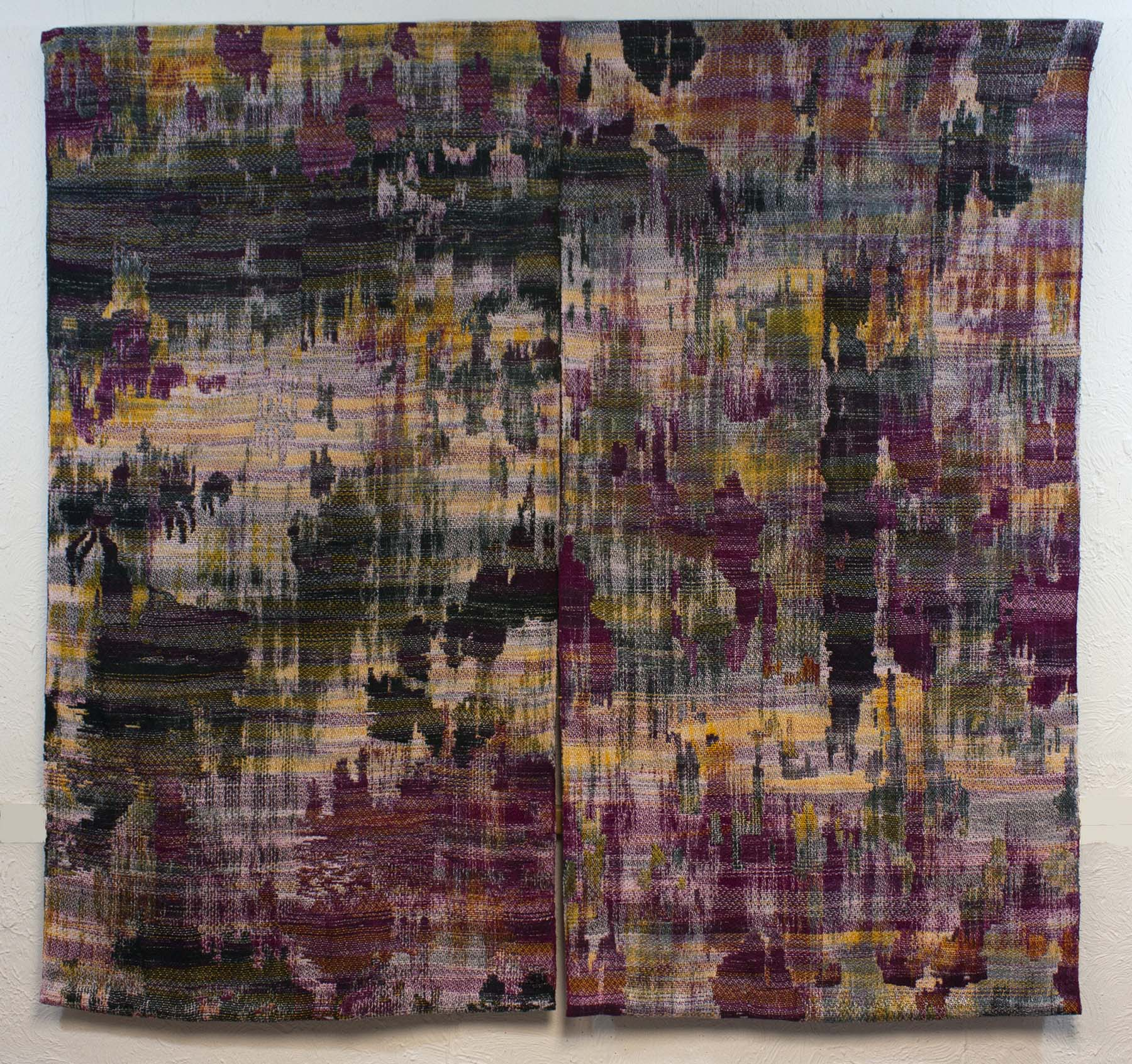 "Nordling, Abstraction 1, January, 2016. 46"" x 48"". Dyed and woven cotton yarns."