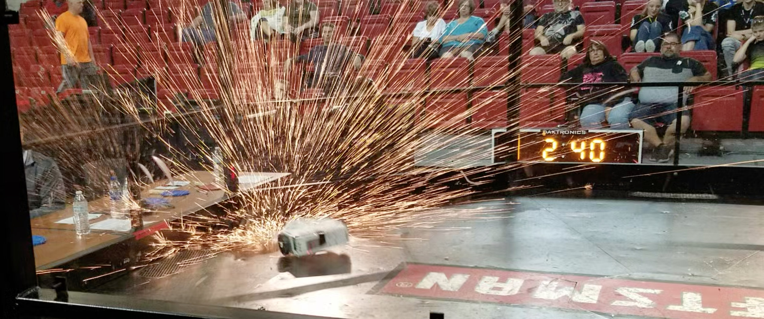 Sparks fly as local Placer area combat bots Scott and Washing Machine collide at Nationals!