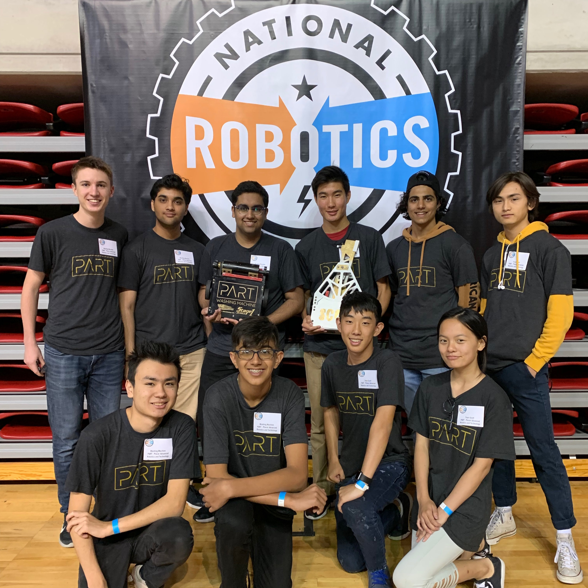 Washing Machine and Scott team members with their bots at NRL Nationals in California, PA