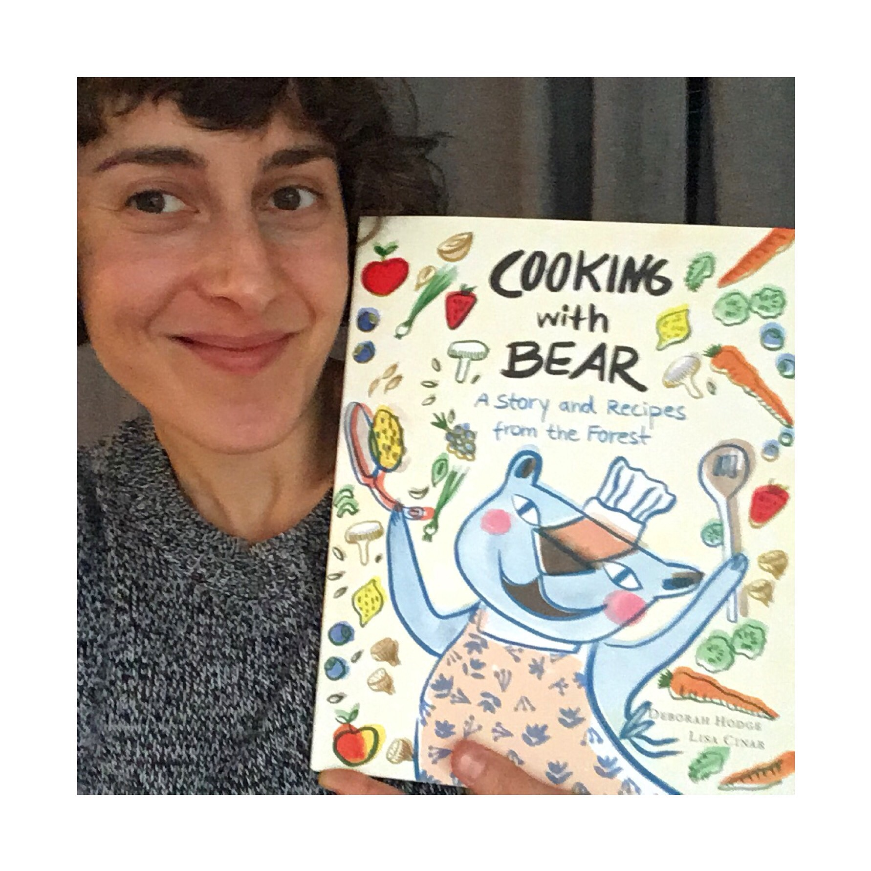 Me with my advanced copy of Cooking with Bear. Don't you want to cook something now and just toss all the ingredients up in the air?