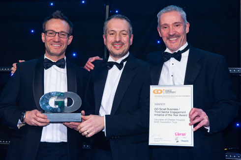 Steve Clare, MD of Clares (left) accepts the award with Andrew O'Connor of the Countess of Chester Hospital NHS Foundation Trust (right)