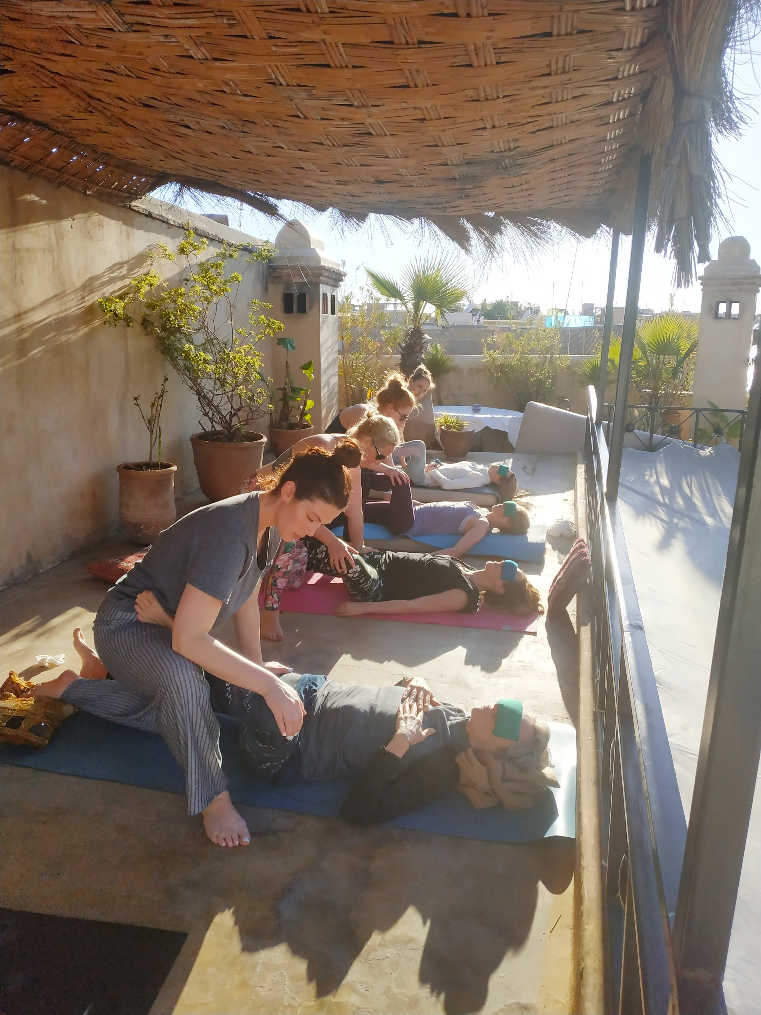 The girls learning the art of Thai massage.