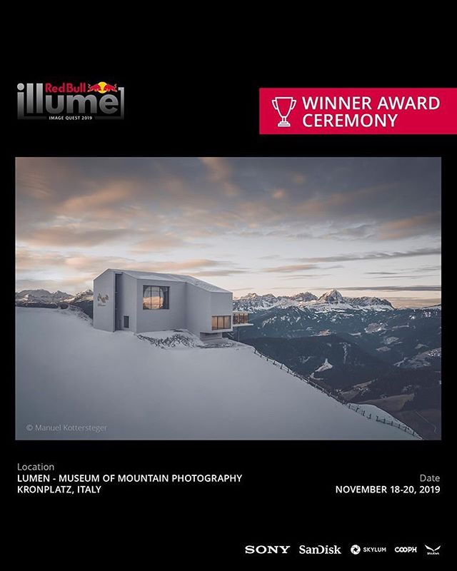 @redbullillume is thrilled to announce that they will honor the winners of the Image Quest 2019 at the breathtaking @lumenmuseum in South Tyrol, Italy. • This stunning location on @kronplatz will host the Oscars of Adventure and Action Sports Imagery on November 20, 2019. • #lumenmuseum#kronplatz#plandecorones#redbullillume#mountainphotography#imagequest2019