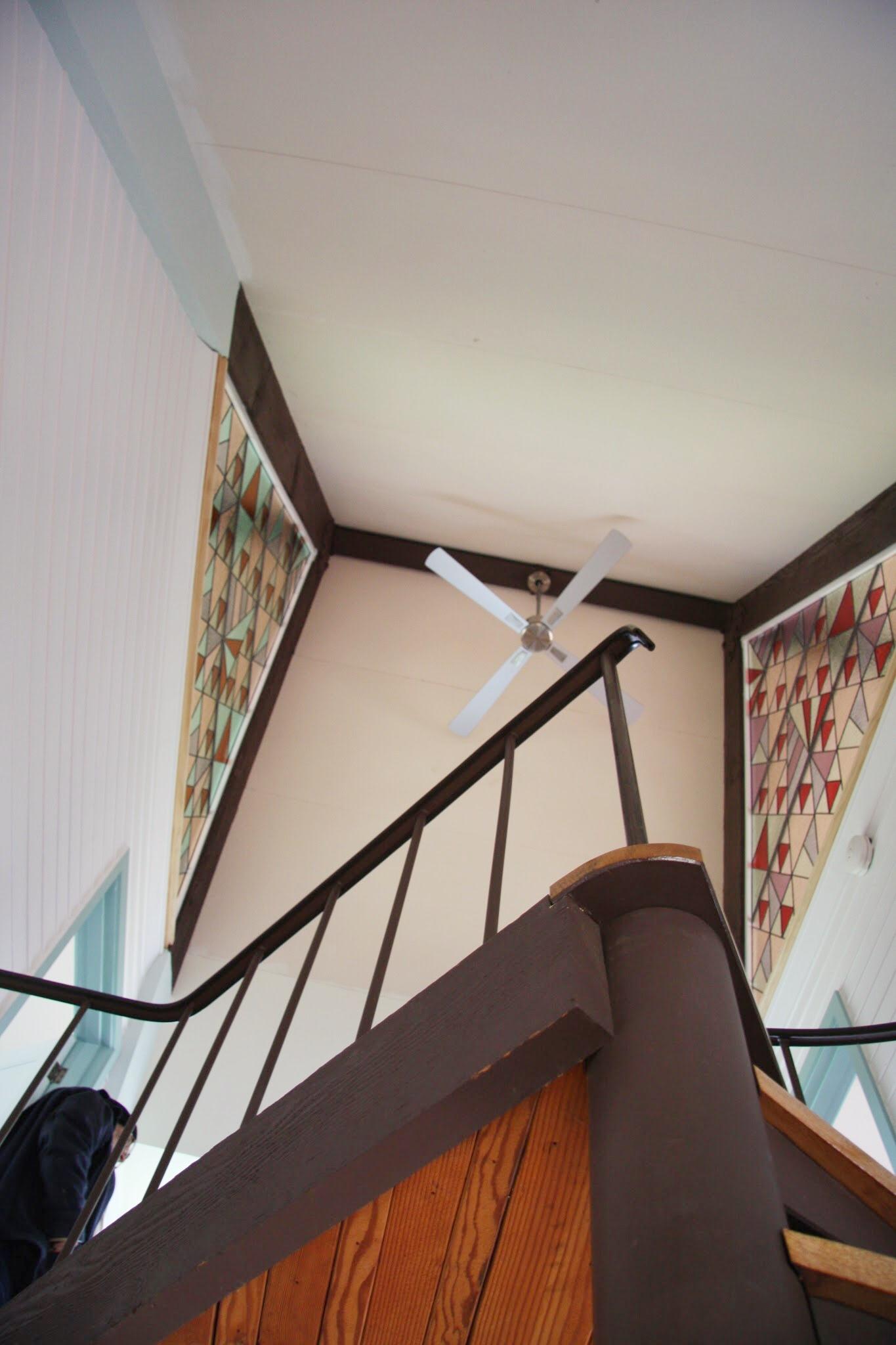 Modern Geometric Leadlight Pair viewed from below