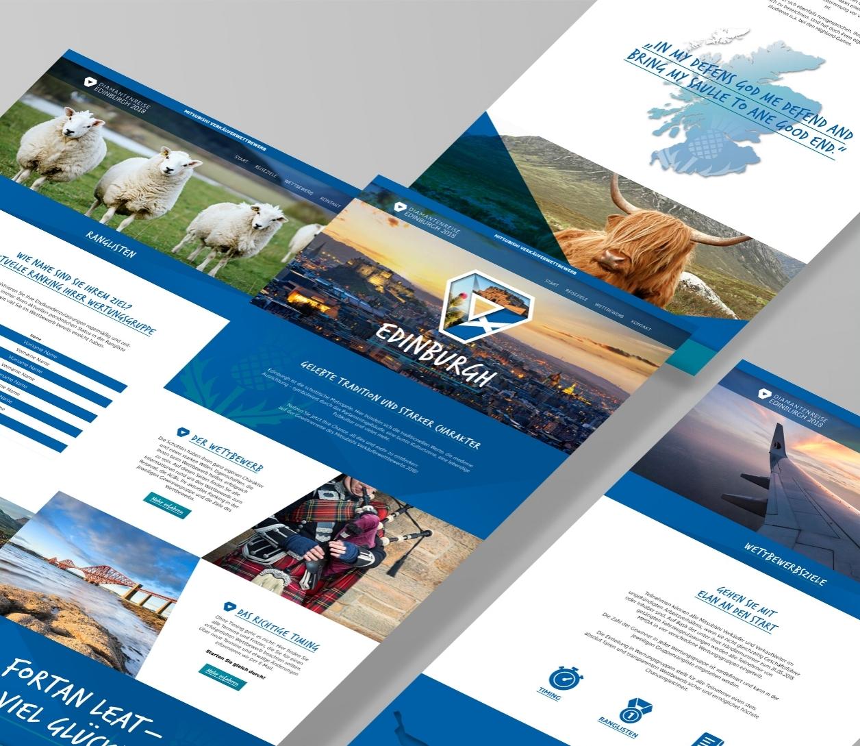 Webseite für einen Reisewettbewerb mit Teilnehmerdatenbank.
