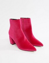 Pink Velvet Ankle Boots
