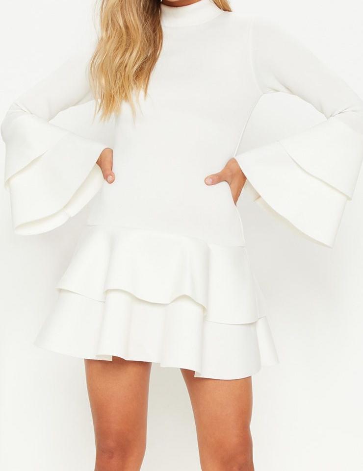 PLT White Bonded Scuba Dress