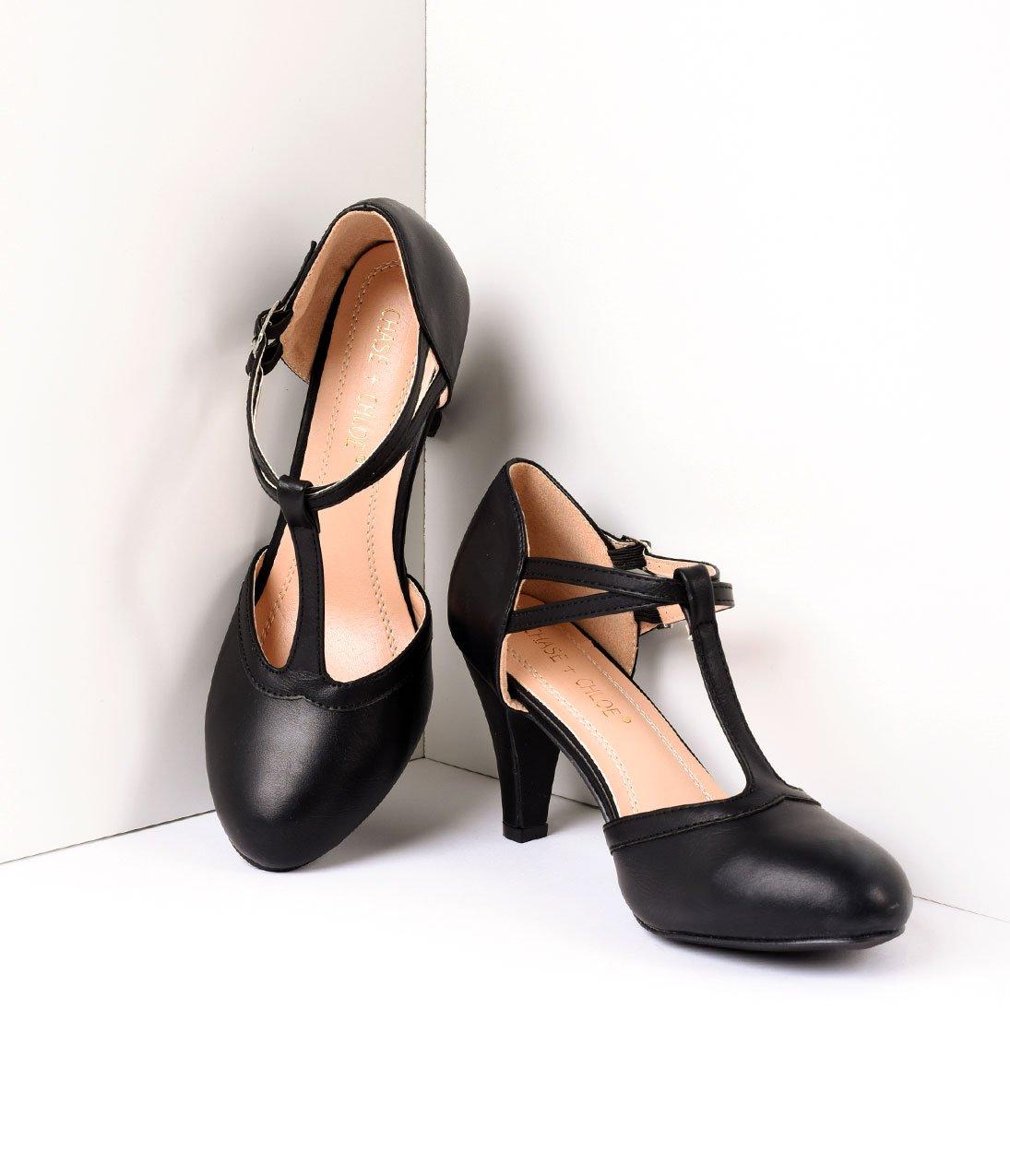 Leatherette Round Toe Heels