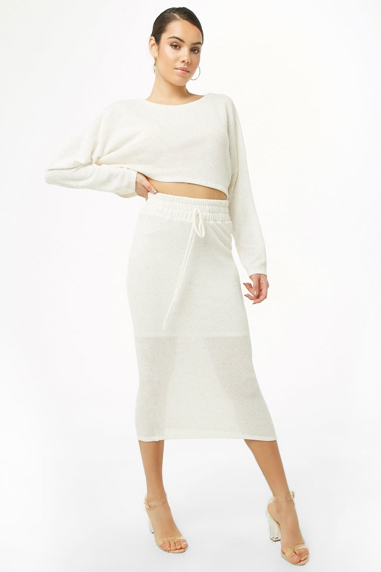 Threaded Crop Top and Skirt Set