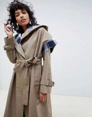 Check Lining Trench Coat