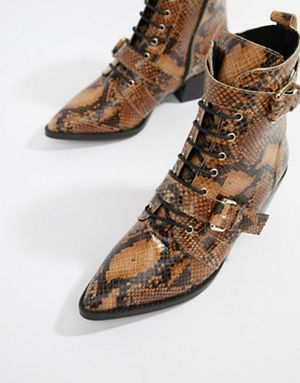 Snake Lace Up Boots