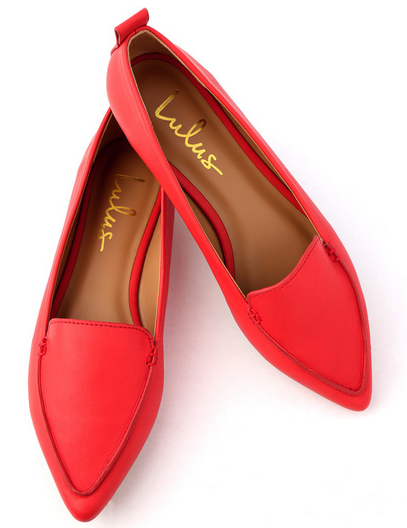Emmy Red Pointed Loafers