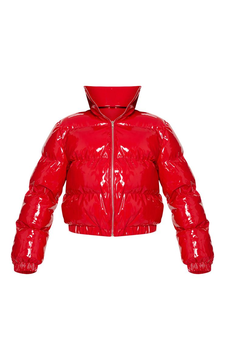 Red Cropped Vinyl Puffer