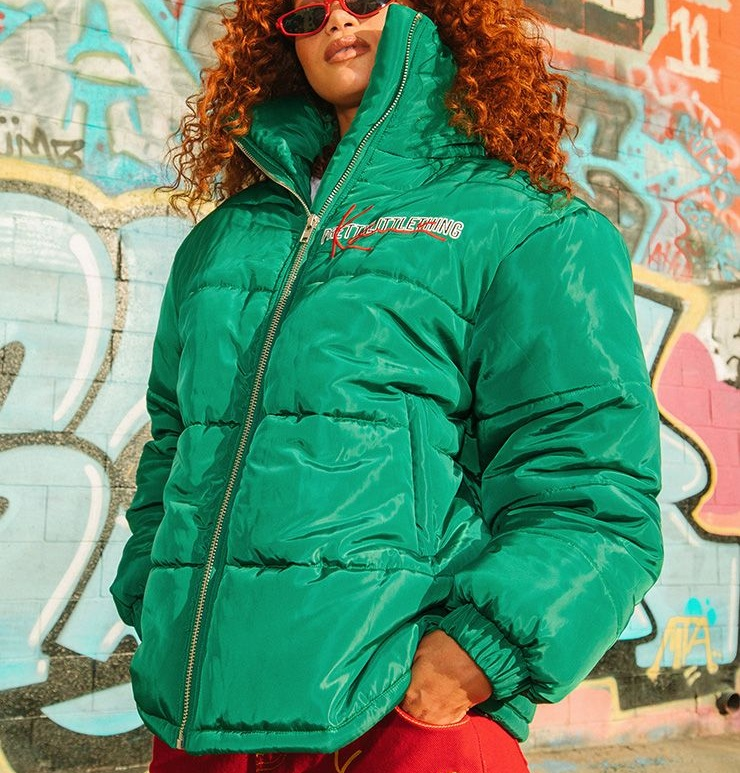 Green Embroidered Puffer