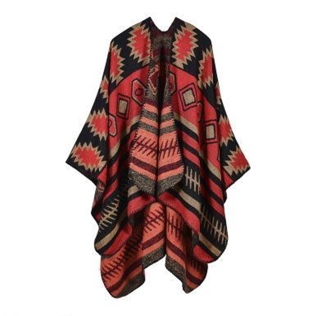 Red Pattern Poncho