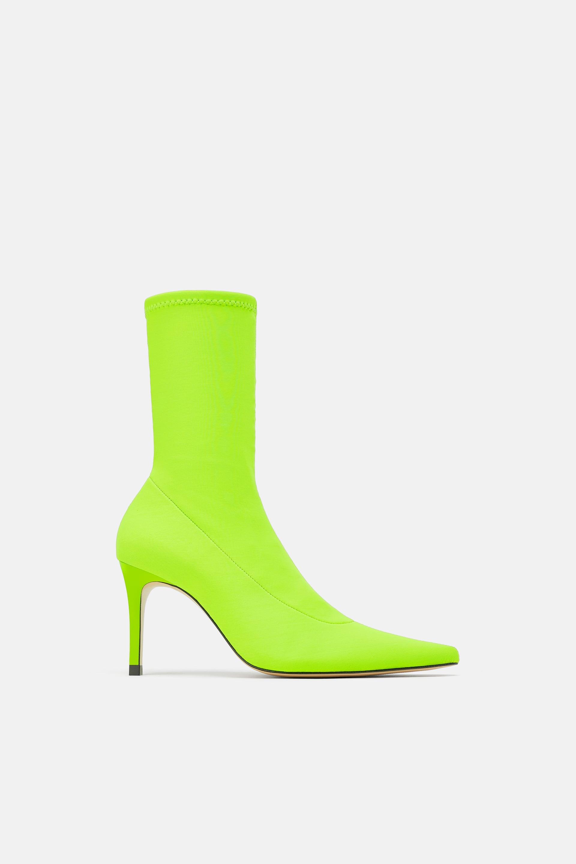Neon Heeled Sock Boots