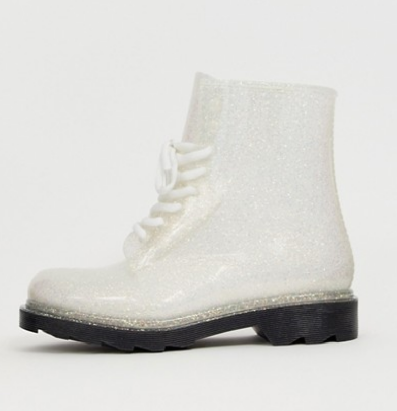 Lace Up Glitter Boots