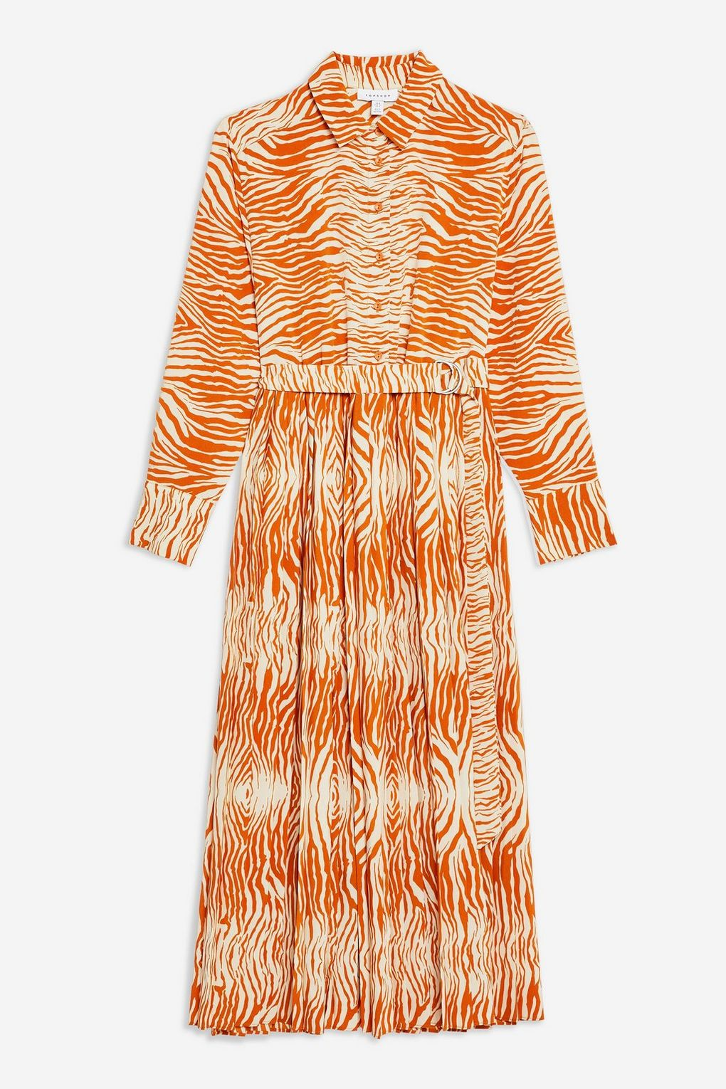 Zebra Pleated Shirt Dress
