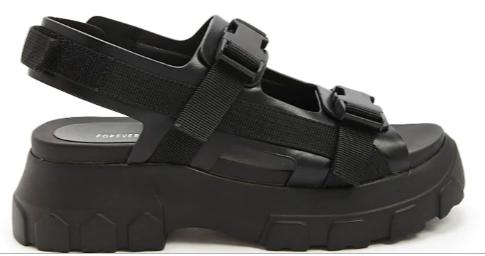 Faux Leather Black Platform Shoes