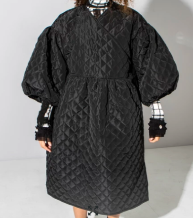 Ohh Hey Girl Black Quilted Dress