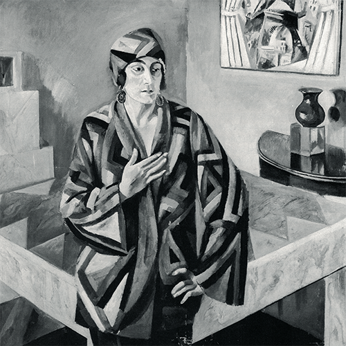 Portrait of Mme Mandel by Robert Delaunay (wearing one of Sonia's 'simul;taneous dresses'), 1923