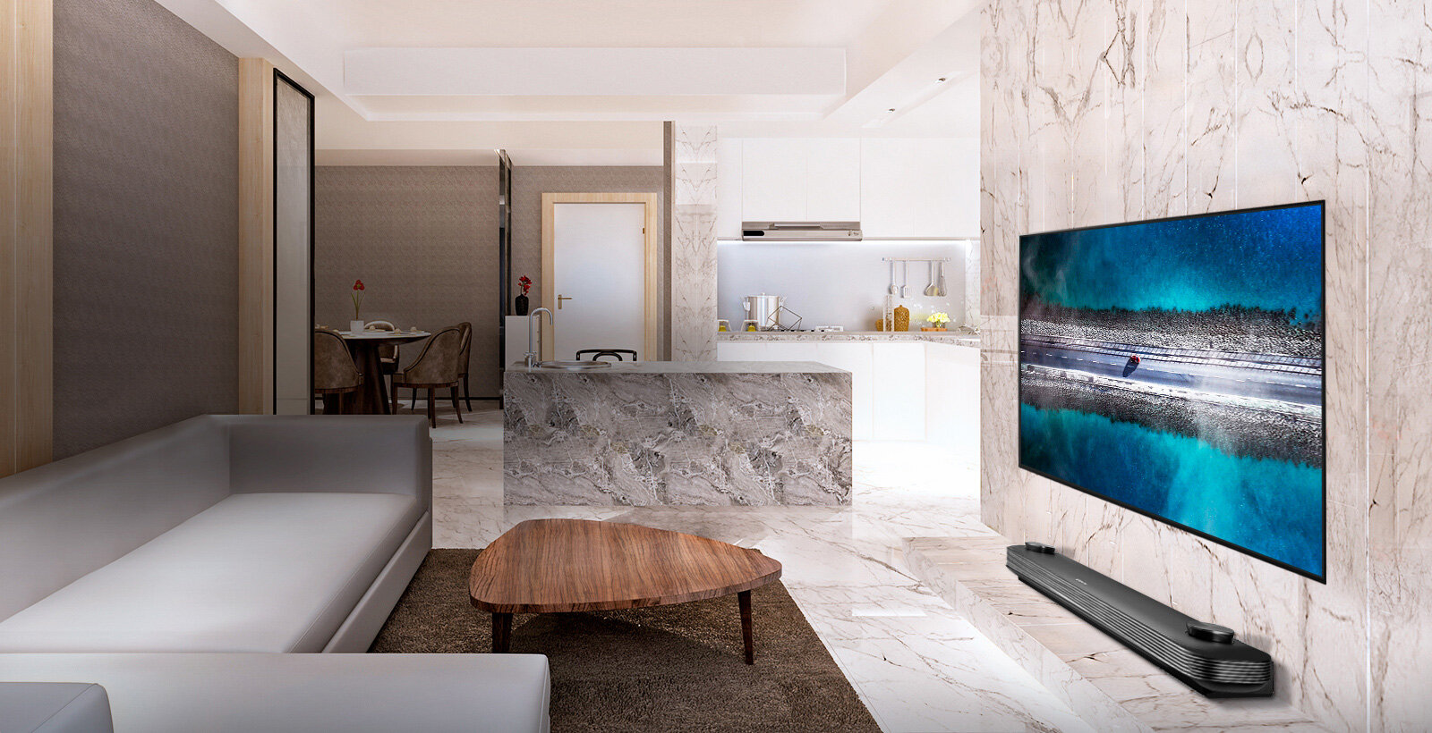 One with the Wall - LG SIGNATURE OLED TV W9, designed to blend into the wall, bringing a mesmerising experience and aesthetic in your space. A feat only possible with uniquely sophisticated LG OLED TV technology.