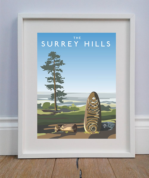 the-surrey-hills-print in white A4 frame