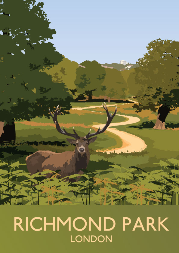 Richmond Park London Illustrations Prints