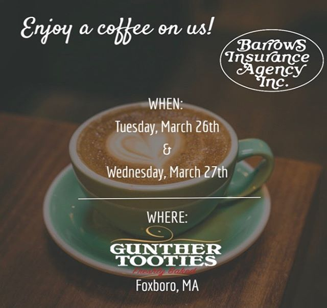 We have some awesome news! We are partnering with Gunther Tooties of Foxboro to offer the first 100 customers a cup of coffee on us. That's right... a FREE cup of coffee from your neighborhood insurance agency!  We will also be raffling off a $50 Visa Gift Card!  A free cup of coffee and a chance to win a $50 Visa Gift Card.. can't get any better than that!