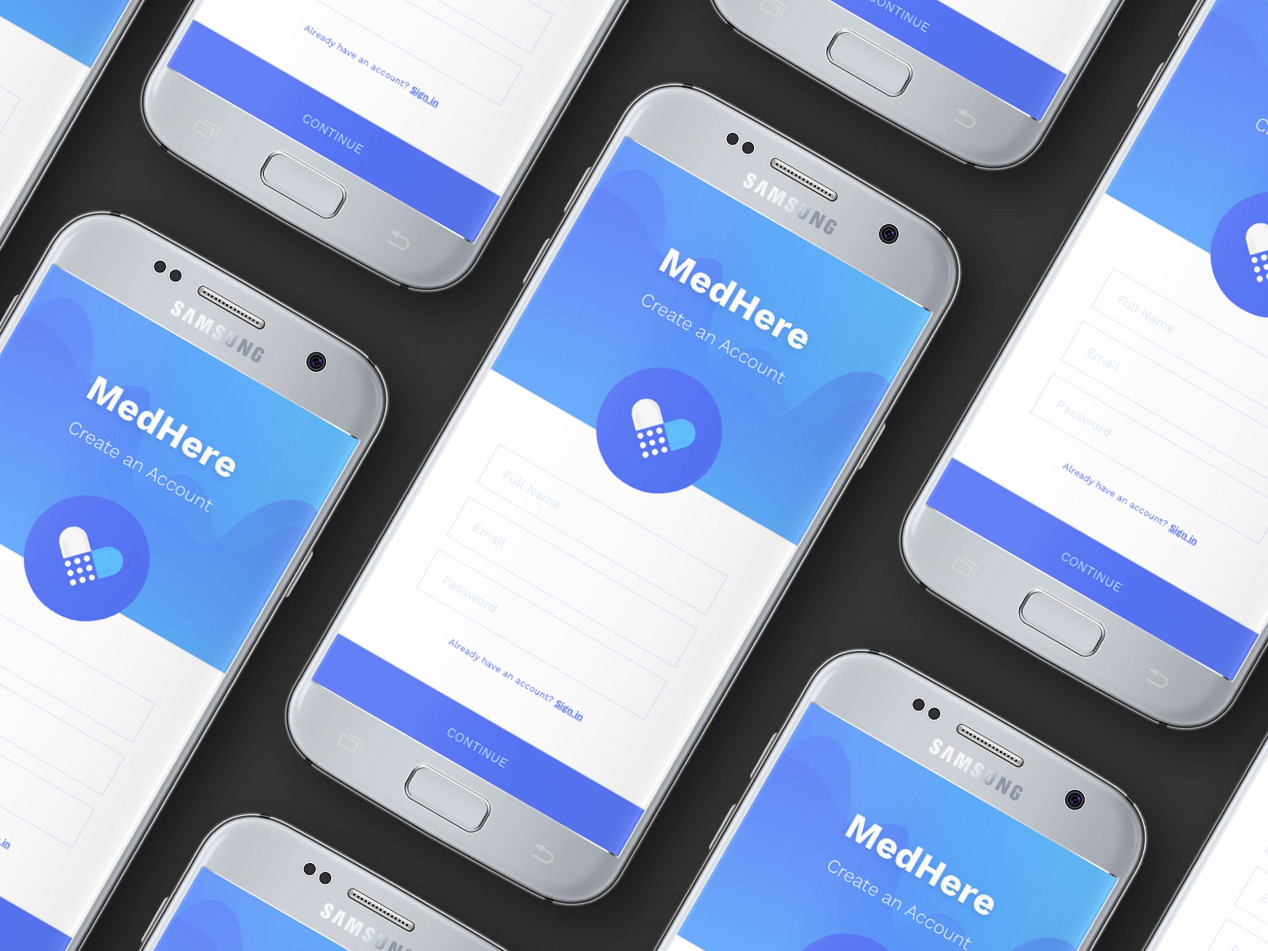 MedHere - Mobile App + Logo + Website
