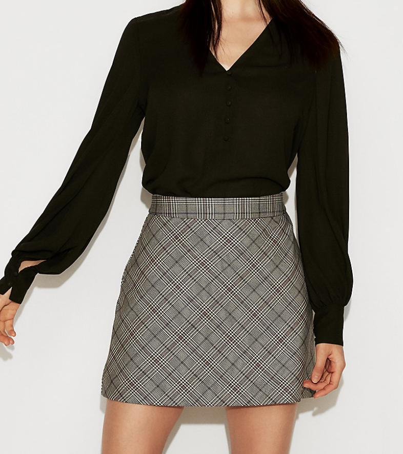 Express - High Waist Plaid Clean A-Line Mini Skirt $35.94